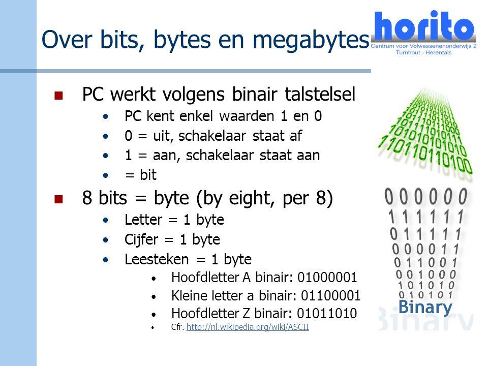Over bits, bytes en megabytes PC werkt volgens binair talstelsel PC kent enkel waarden 1 en 0 0 = uit, schakelaar staat af 1 = aan, schakelaar staat a