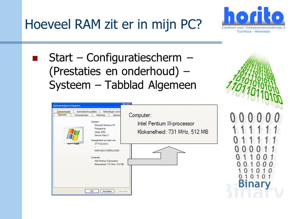 Hoeveel RAM zit er in mijn PC? Start – Configuratiescherm – (Prestaties en onderhoud) – Systeem – Tabblad Algemeen