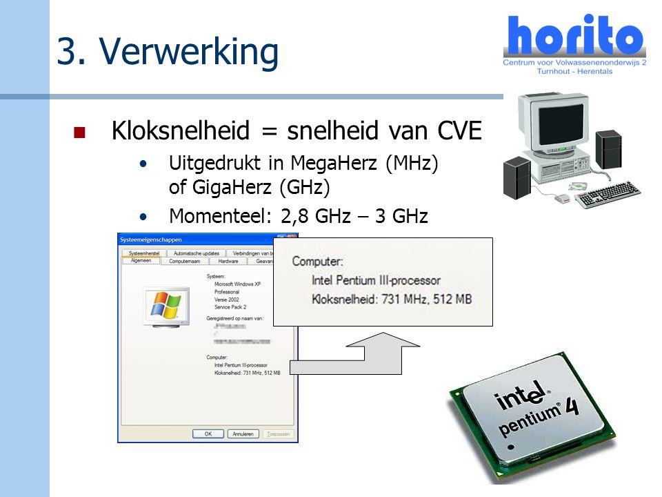 3. Verwerking Kloksnelheid = snelheid van CVE Uitgedrukt in MegaHerz (MHz) of GigaHerz (GHz) Momenteel: 2,8 GHz – 3 GHz