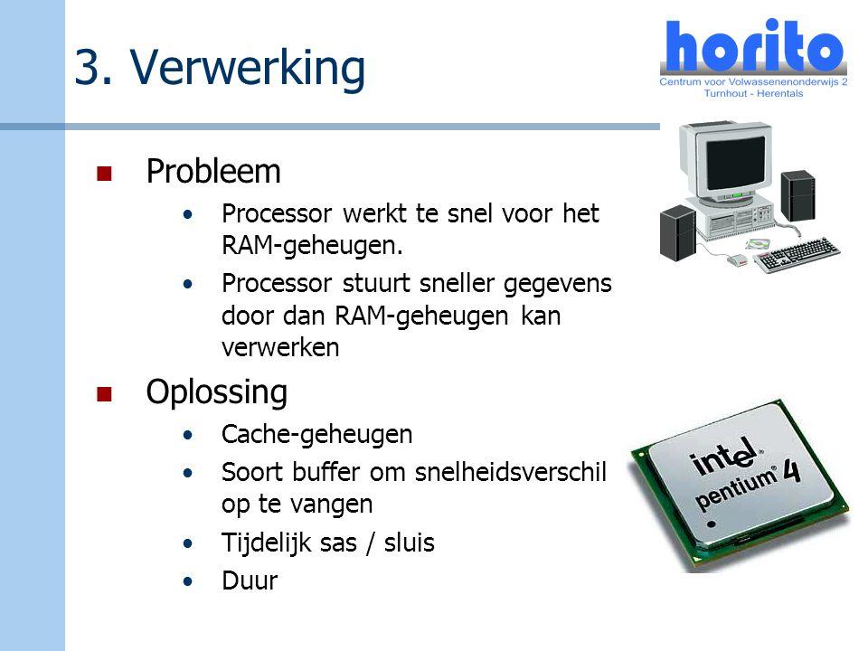 3. Verwerking Probleem Processor werkt te snel voor het RAM-geheugen. Processor stuurt sneller gegevens door dan RAM-geheugen kan verwerken Oplossing