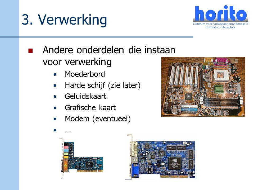 3. Verwerking Andere onderdelen die instaan voor verwerking Moederbord Harde schijf (zie later) Geluidskaart Grafische kaart Modem (eventueel) …