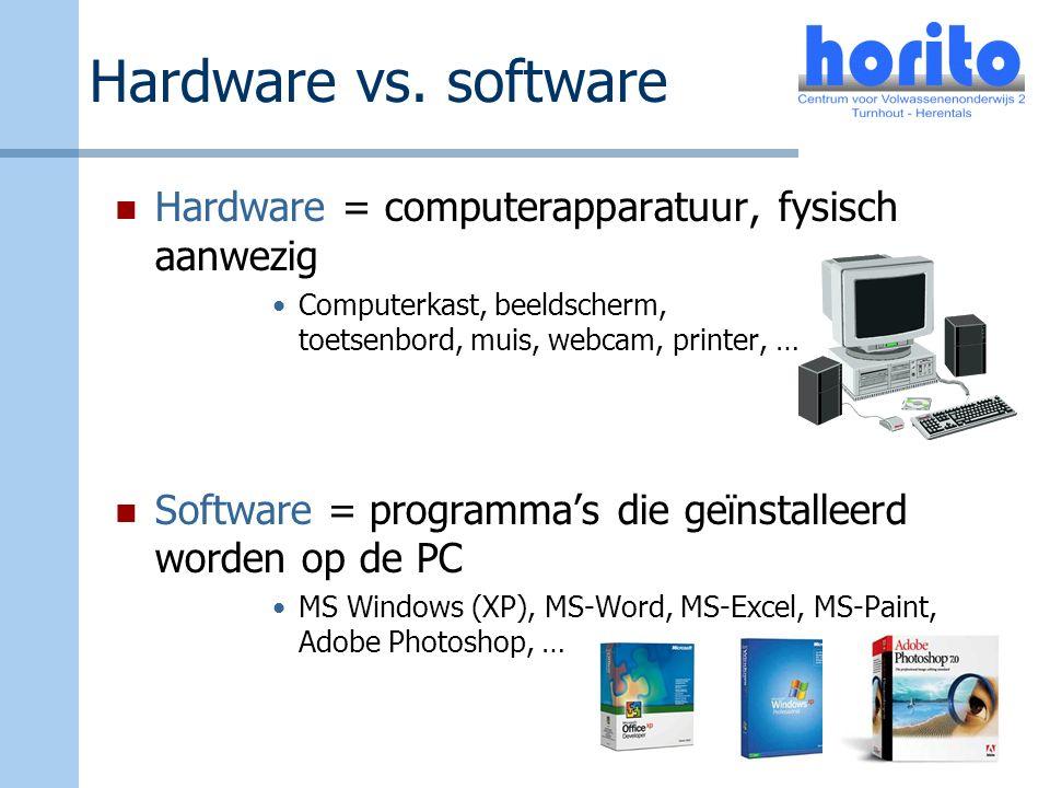 Hardware vs. software Hardware = computerapparatuur, fysisch aanwezig Computerkast, beeldscherm, toetsenbord, muis, webcam, printer, … Software = prog