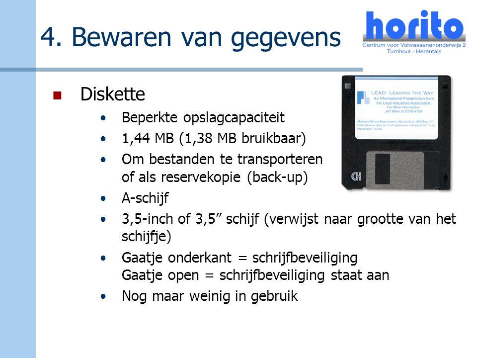 4. Bewaren van gegevens Diskette Beperkte opslagcapaciteit 1,44 MB (1,38 MB bruikbaar) Om bestanden te transporteren of als reservekopie (back-up) A-s
