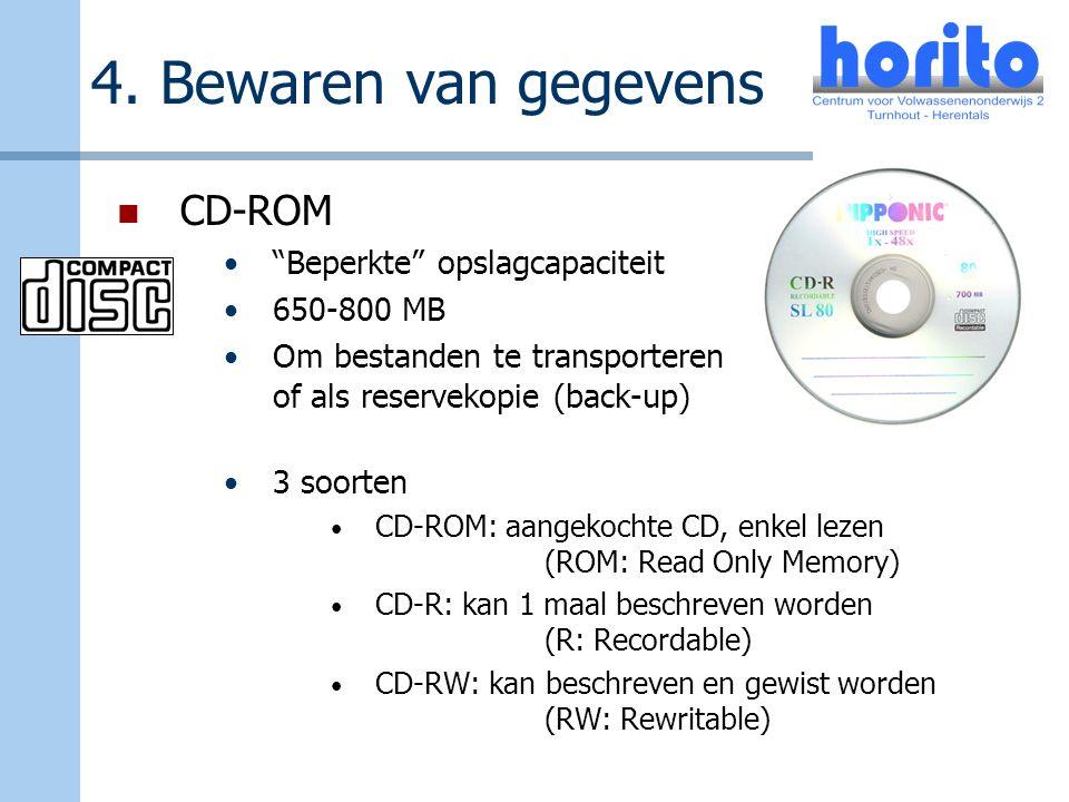 """4. Bewaren van gegevens CD-ROM """"Beperkte"""" opslagcapaciteit 650-800 MB Om bestanden te transporteren of als reservekopie (back-up) 3 soorten CD-ROM: aa"""