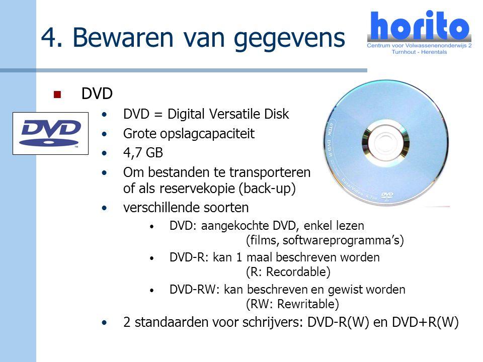 4. Bewaren van gegevens DVD DVD = Digital Versatile Disk Grote opslagcapaciteit 4,7 GB Om bestanden te transporteren of als reservekopie (back-up) ver