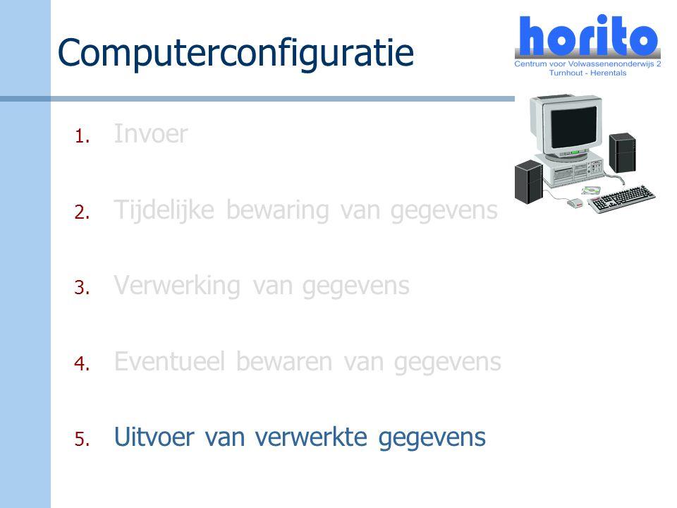 Computerconfiguratie 1. Invoer 2. Tijdelijke bewaring van gegevens 3. Verwerking van gegevens 4. Eventueel bewaren van gegevens 5. Uitvoer van verwerk