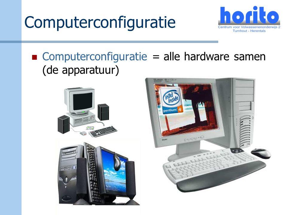Computerconfiguratie Computerconfiguratie = alle hardware samen (de apparatuur)