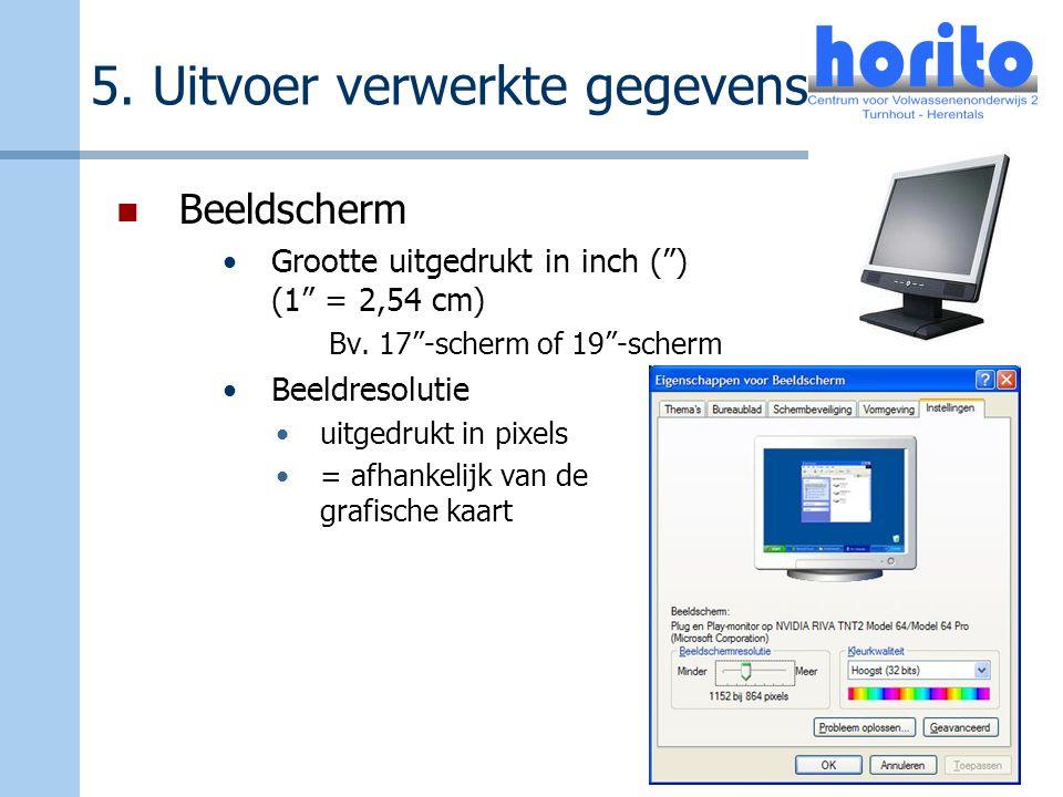 """5. Uitvoer verwerkte gegevens Beeldscherm Grootte uitgedrukt in inch ("""") (1"""" = 2,54 cm) Bv. 17""""-scherm of 19""""-scherm Beeldresolutie uitgedrukt in pixe"""