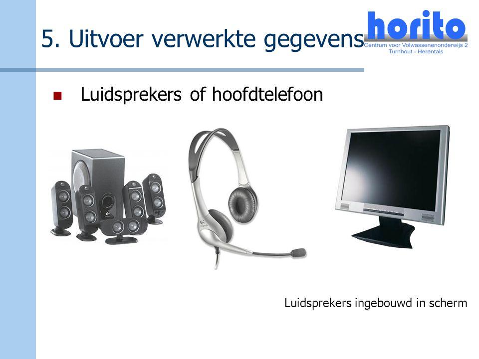 5. Uitvoer verwerkte gegevens Luidsprekers of hoofdtelefoon Luidsprekers ingebouwd in scherm