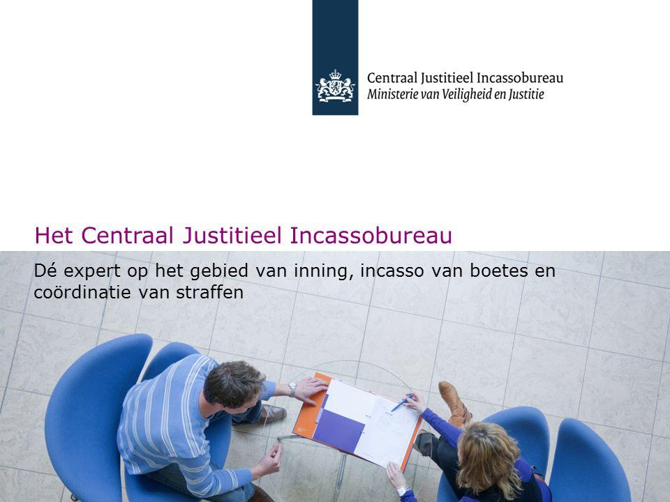 Corporate presentatie CJIB | 2010 Het Centraal Justitieel Incassobureau Dé expert op het gebied van inning, incasso van boetes en coördinatie van straffen