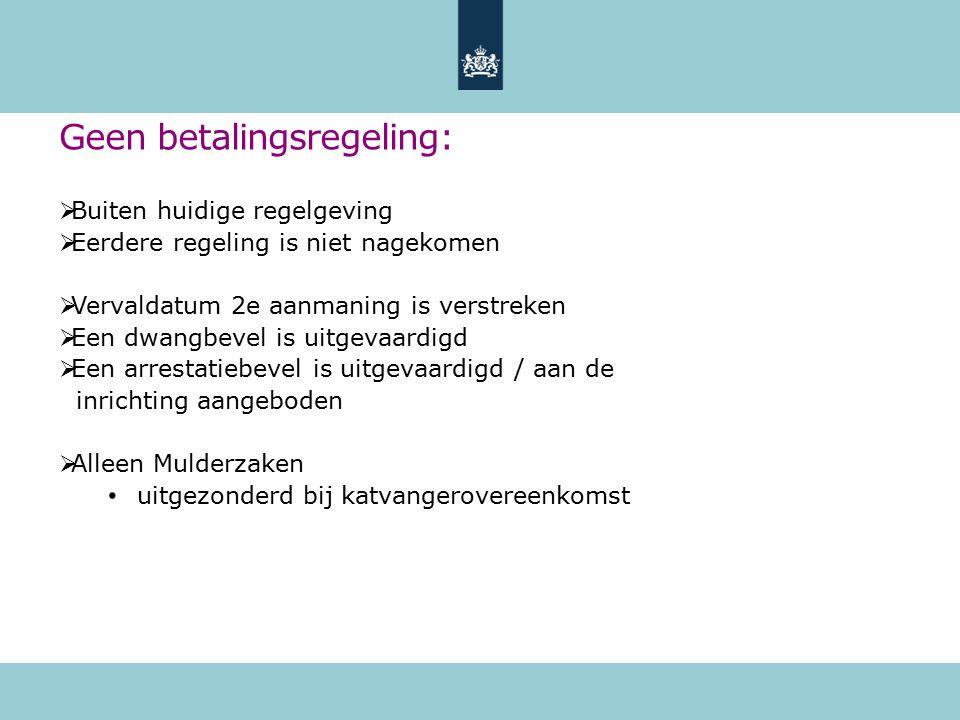 Geen betalingsregeling:  Buiten huidige regelgeving  Eerdere regeling is niet nagekomen  Vervaldatum 2e aanmaning is verstreken  Een dwangbevel is