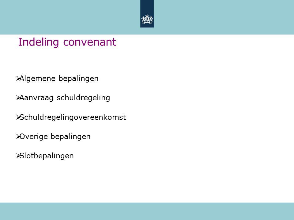 Indeling convenant  Algemene bepalingen  Aanvraag schuldregeling  Schuldregelingovereenkomst  Overige bepalingen  Slotbepalingen