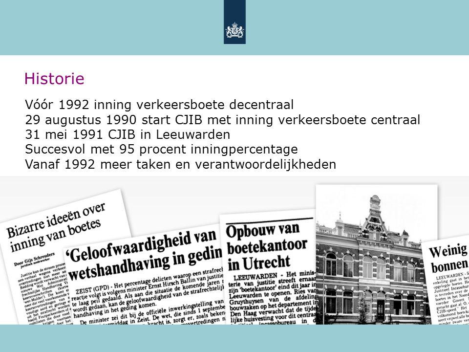 Historie Vóór 1992 inning verkeersboete decentraal 29 augustus 1990 start CJIB met inning verkeersboete centraal 31 mei 1991 CJIB in Leeuwarden Succes
