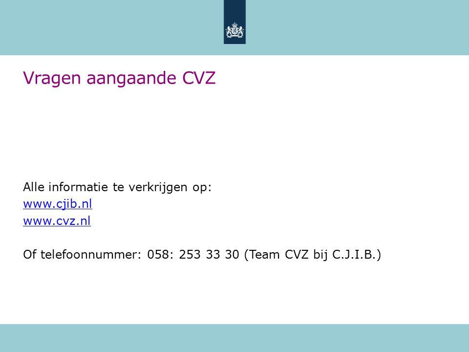 Vragen aangaande CVZ Alle informatie te verkrijgen op: www.cjib.nl www.cvz.nl Of telefoonnummer: 058: 253 33 30 (Team CVZ bij C.J.I.B.)
