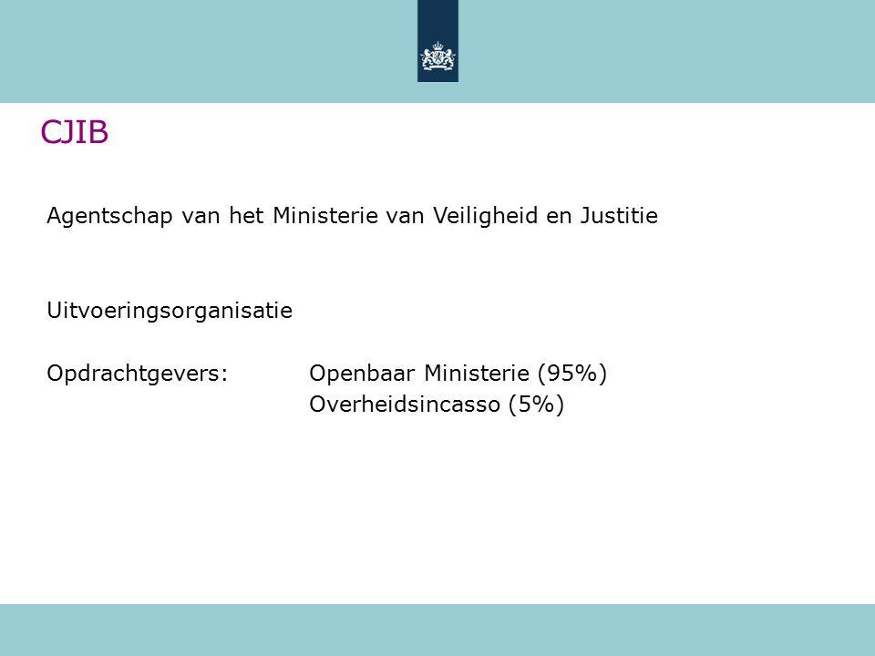 Agentschap van het Ministerie van Veiligheid en Justitie Uitvoeringsorganisatie Opdrachtgevers:Openbaar Ministerie (95%) Overheidsincasso (5%) CJIB