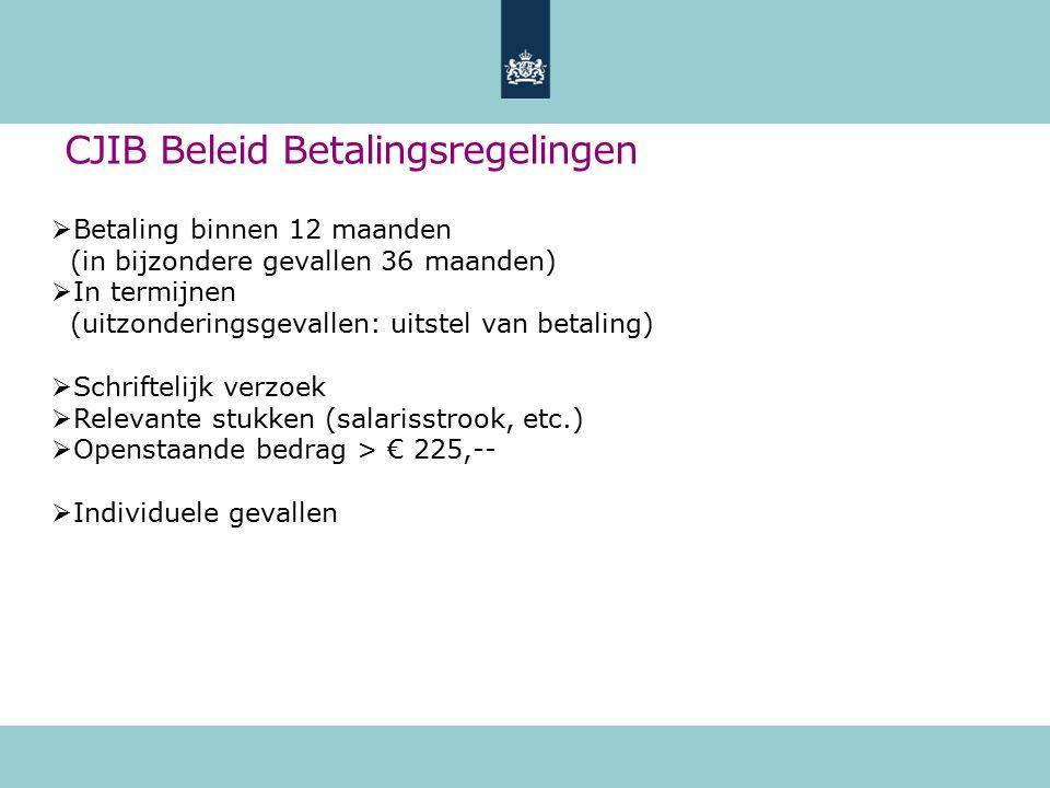 CJIB Beleid Betalingsregelingen  Betaling binnen 12 maanden (in bijzondere gevallen 36 maanden)  In termijnen (uitzonderingsgevallen: uitstel van be