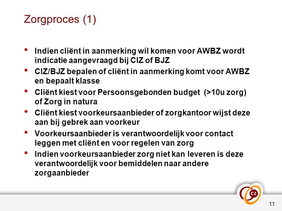 Zorgproces (1) Indien cliënt in aanmerking wil komen voor AWBZ wordt indicatie aangevraagd bij CIZ of BJZ CIZ/BJZ bepalen of cliënt in aanmerking komt