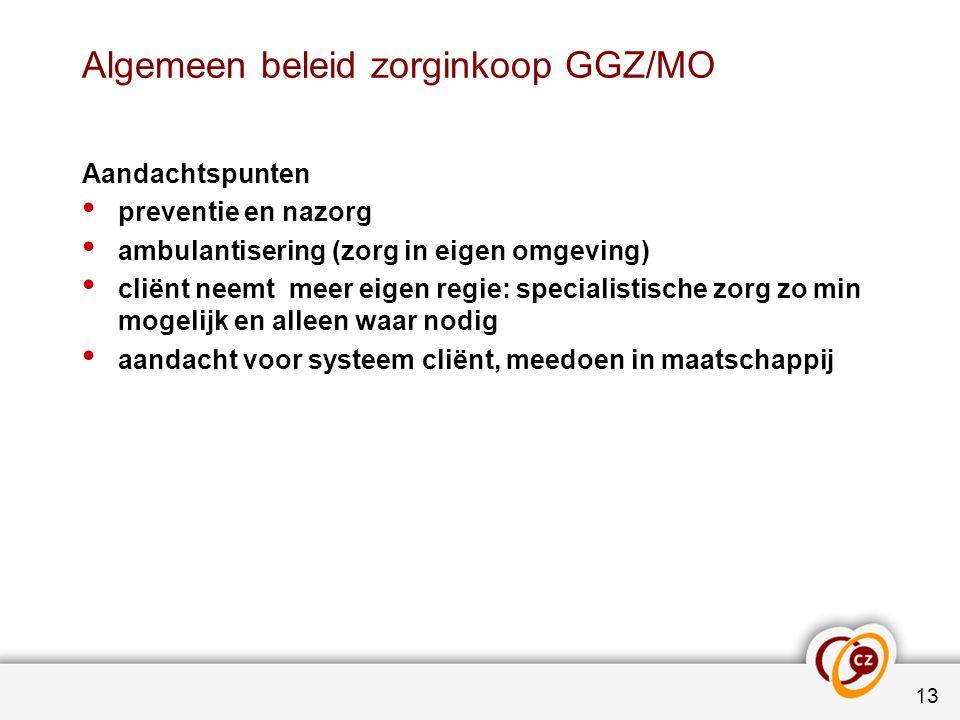 Algemeen beleid zorginkoop GGZ/MO Aandachtspunten preventie en nazorg ambulantisering (zorg in eigen omgeving) cliënt neemt meer eigen regie: speciali