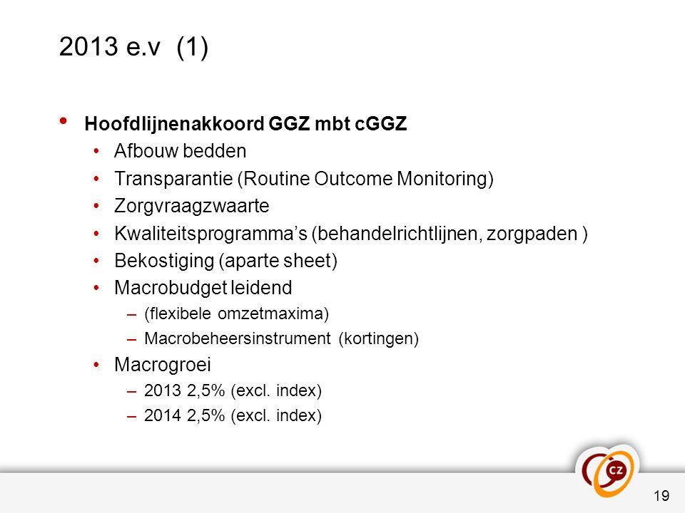 2013 e.v (1) Hoofdlijnenakkoord GGZ mbt cGGZ Afbouw bedden Transparantie (Routine Outcome Monitoring) Zorgvraagzwaarte Kwaliteitsprogramma's (behandel
