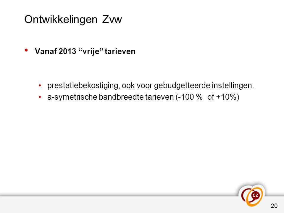 """Ontwikkelingen Zvw Vanaf 2013 """"vrije"""" tarieven prestatiebekostiging, ook voor gebudgetteerde instellingen. a-symetrische bandbreedte tarieven (-100 %"""