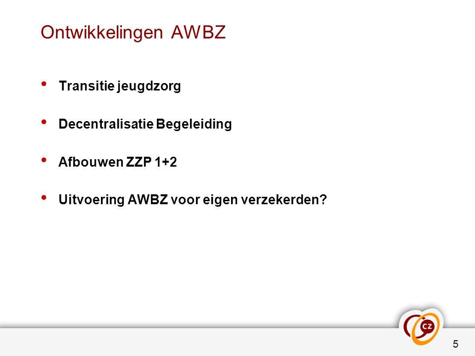 Ontwikkelingen AWBZ Transitie jeugdzorg Decentralisatie Begeleiding Afbouwen ZZP 1+2 Uitvoering AWBZ voor eigen verzekerden.