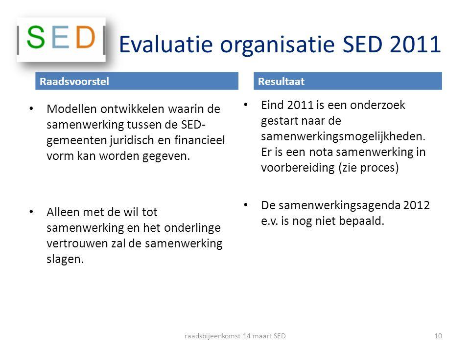 Evaluatie organisatie SED 2011 Modellen ontwikkelen waarin de samenwerking tussen de SED- gemeenten juridisch en financieel vorm kan worden gegeven. A