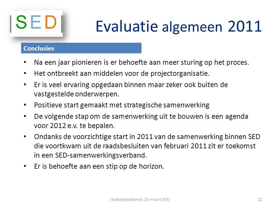 Evaluatie algemeen 2011 Na een jaar pionieren is er behoefte aan meer sturing op het proces. Het ontbreekt aan middelen voor de projectorganisatie. Er