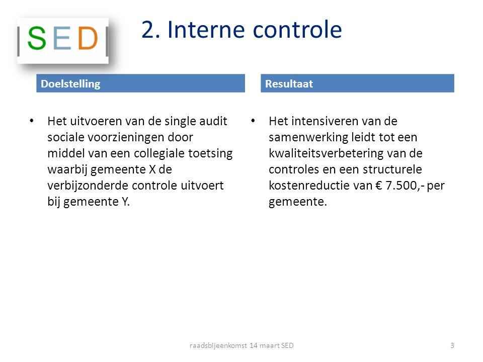 2. Interne controle Het uitvoeren van de single audit sociale voorzieningen door middel van een collegiale toetsing waarbij gemeente X de verbijzonder