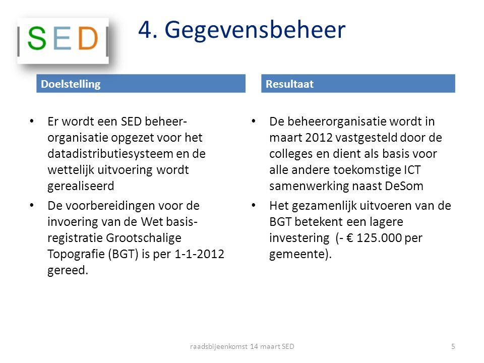 4. Gegevensbeheer Er wordt een SED beheer- organisatie opgezet voor het datadistributiesysteem en de wettelijk uitvoering wordt gerealiseerd De voorbe