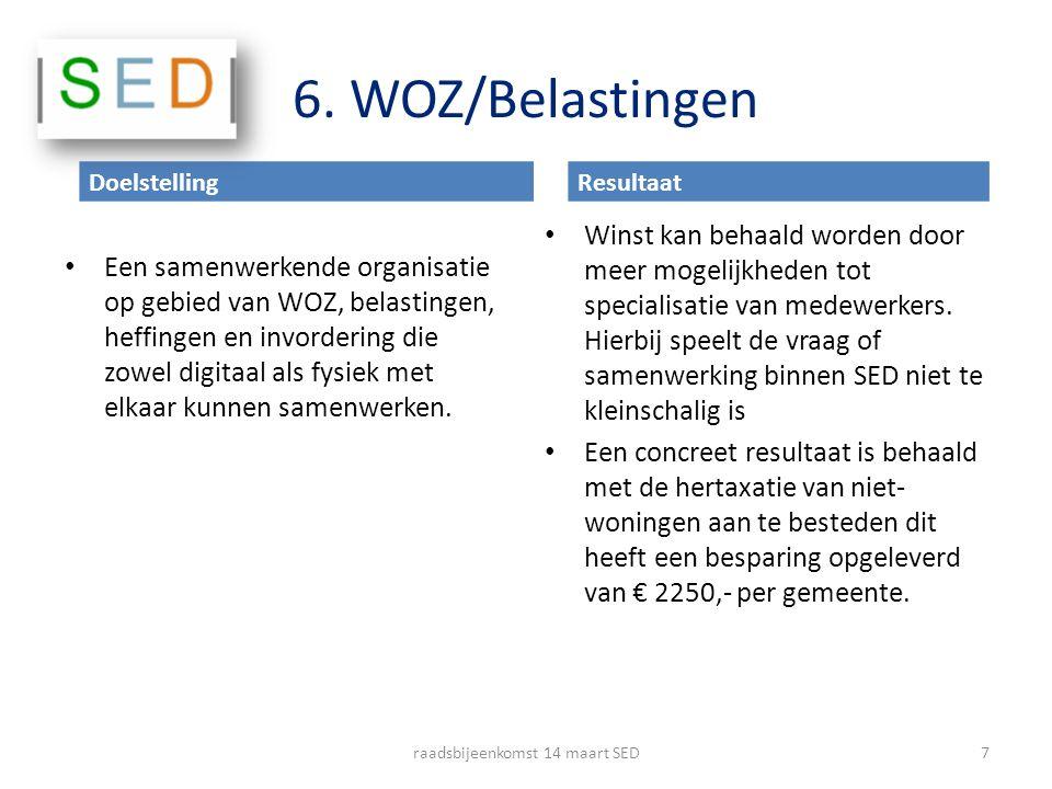 6. WOZ/Belastingen Een samenwerkende organisatie op gebied van WOZ, belastingen, heffingen en invordering die zowel digitaal als fysiek met elkaar kun