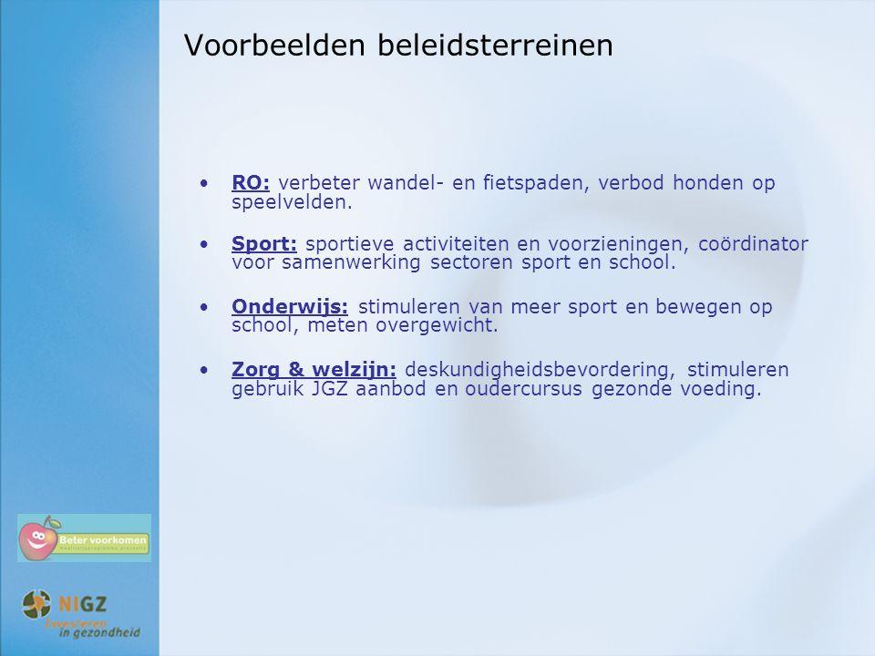 Voorbeelden beleidsterreinen RO: verbeter wandel- en fietspaden, verbod honden op speelvelden. Sport: sportieve activiteiten en voorzieningen, coördin