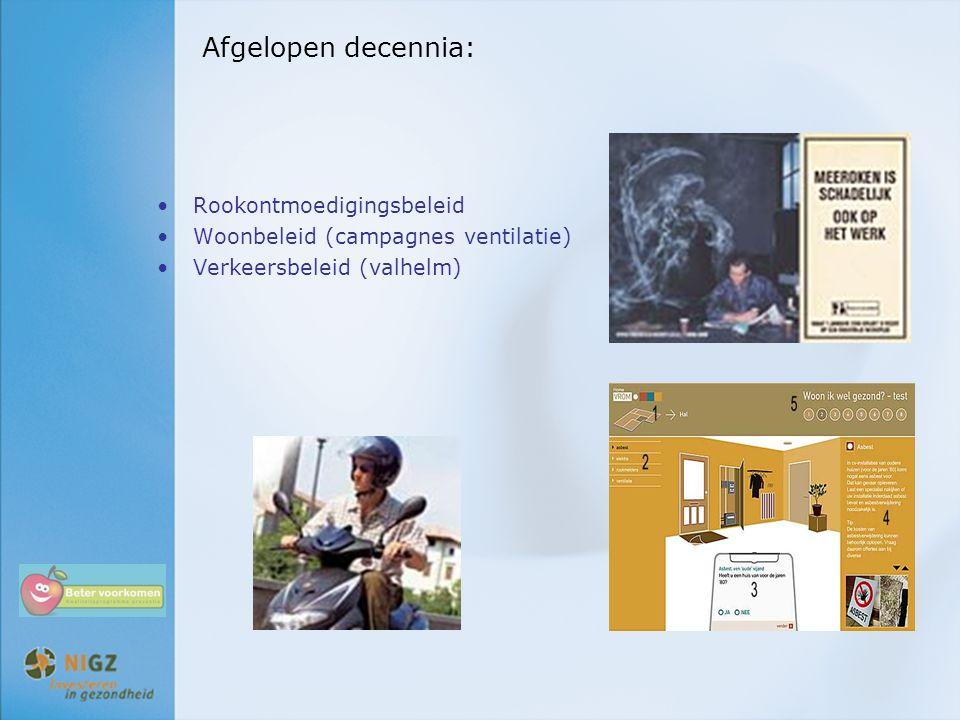 Afgelopen decennia: Rookontmoedigingsbeleid Woonbeleid (campagnes ventilatie) Verkeersbeleid (valhelm)