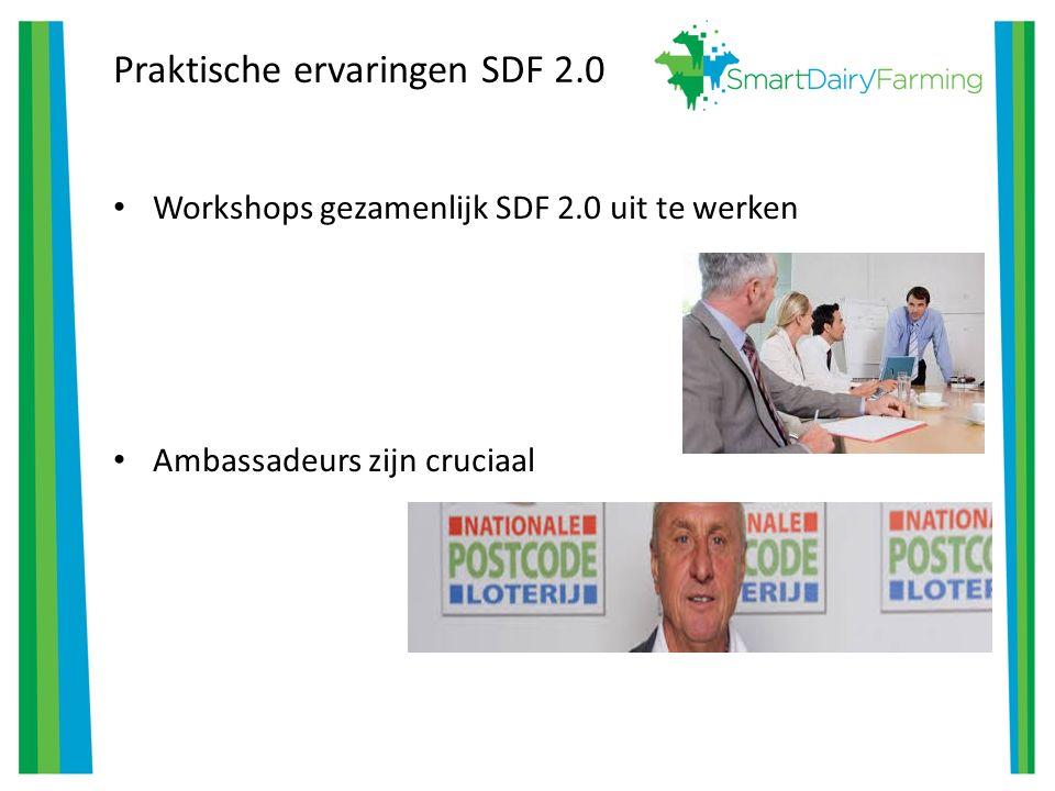 Praktische ervaringen SDF 2.0 Workshops gezamenlijk SDF 2.0 uit te werken Ambassadeurs zijn cruciaal