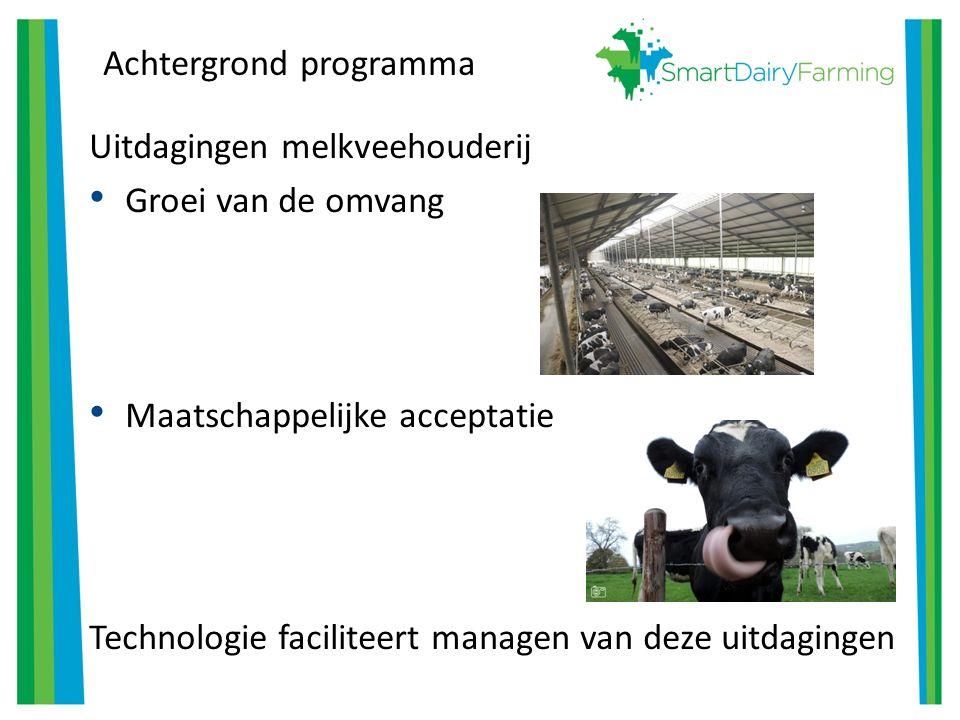Achtergrond programma Uitdagingen melkveehouderij Groei van de omvang Maatschappelijke acceptatie Technologie faciliteert managen van deze uitdagingen