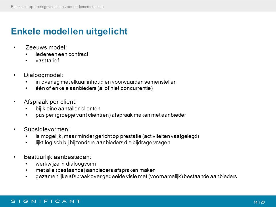 14 | 20 Enkele modellen uitgelicht Zeeuws model: iedereen een contract vast tarief Dialoogmodel: in overleg met elkaar inhoud en voorwaarden samenstel