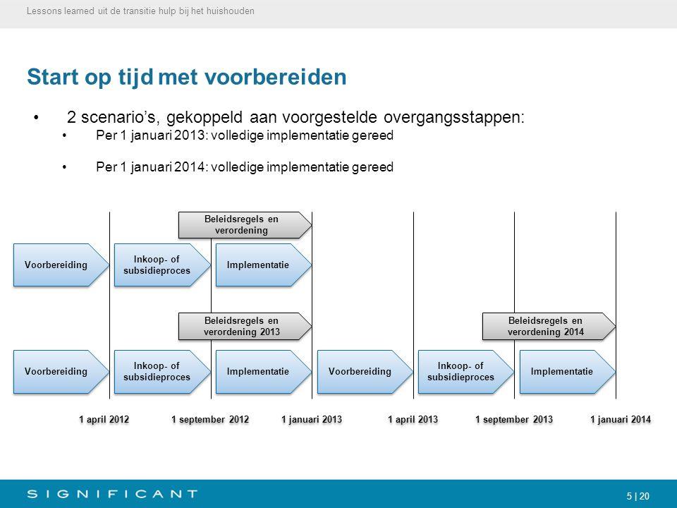 5 | 20 Start op tijd met voorbereiden 2 scenario's, gekoppeld aan voorgestelde overgangsstappen: Per 1 januari 2013: volledige implementatie gereed Pe