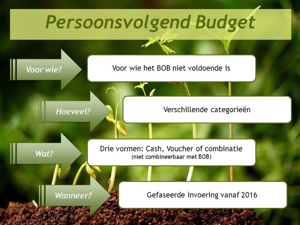 Perspectief 2020 in de praktijk Persoonsvolgend Budget Voor wie? Hoeveel? Wat? Wanneer? Voor wie het BOB niet voldoende is Verschillende categorieën D