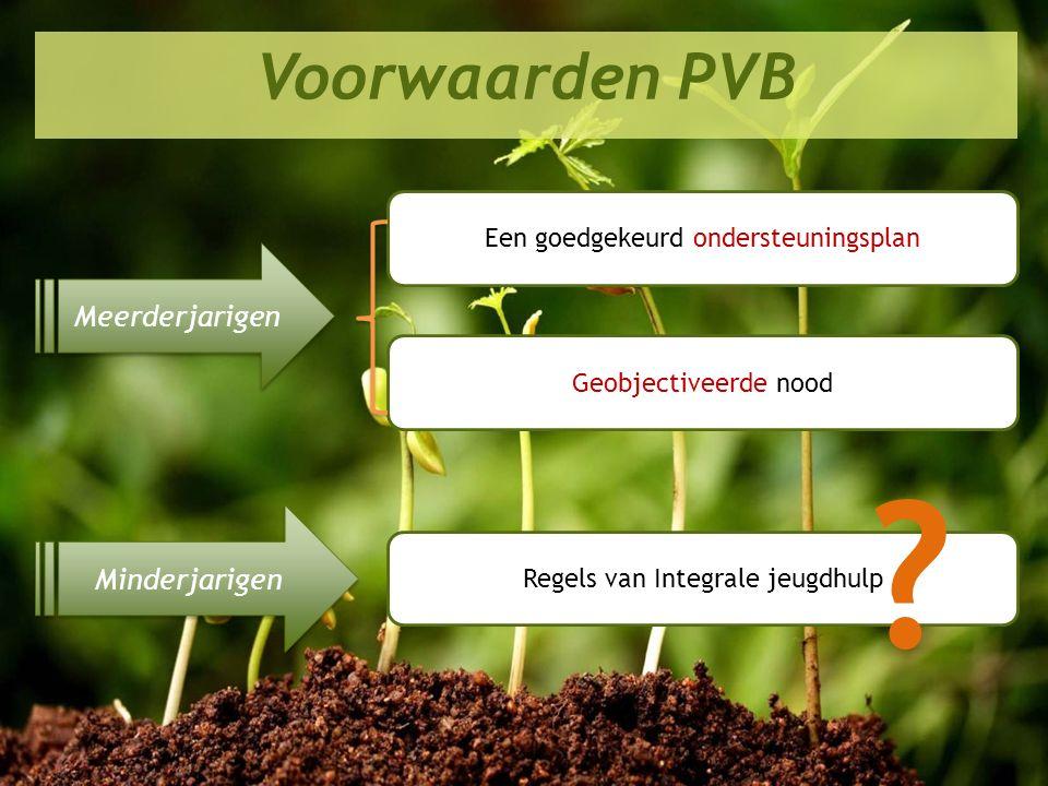 Perspectief 2020 in de praktijk Voorwaarden PVB Meerderjarigen Minderjarigen Een goedgekeurd ondersteuningsplan Geobjectiveerde nood Regels van Integr