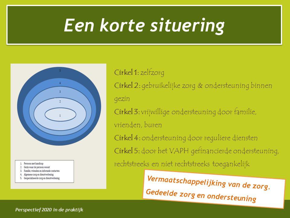 Perspectief 2020 in de praktijk Cirkel 1: zelfzorg Cirkel 2: gebruikelijke zorg & ondersteuning binnen gezin Cirkel 3: vrijwillige ondersteuning door familie, vrienden, buren Cirkel 4: ondersteuning door reguliere diensten Cirkel 5: door het VAPH gefinancierde ondersteuning, rechtstreeks en niet rechtstreeks toegankelijk Vermaatschappelijking van de zorg.