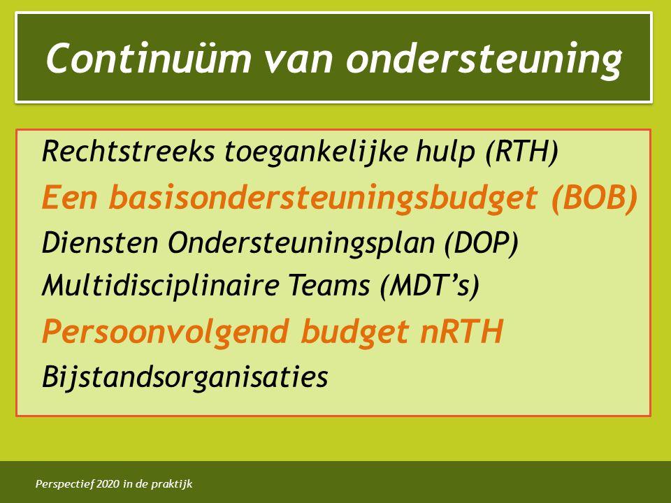Perspectief 2020 in de praktijk Rechtstreeks toegankelijke hulp (RTH) Een basisondersteuningsbudget (BOB) Diensten Ondersteuningsplan (DOP) Multidisciplinaire Teams (MDT's) Persoonvolgend budget nRTH Bijstandsorganisaties Continuüm van ondersteuning