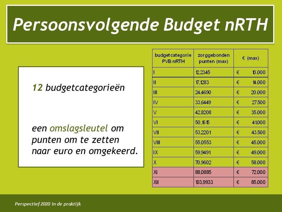 Perspectief 2020 in de praktijk 12 budgetcategorieën een omslagsleutel om punten om te zetten naar euro en omgekeerd. Persoonsvolgende Budget nRTH
