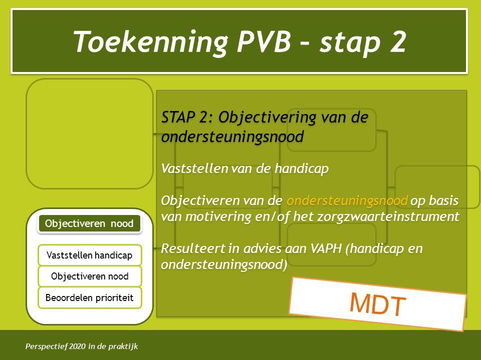 Perspectief 2020 in de praktijk Toekenning PVB – stap 2 Objectiveren nood Vaststellen handicap Objectiveren nood Beoordelen prioriteit STAP 2: Objectivering van de ondersteuningsnood Vaststellen van de handicap Objectiveren van de ondersteuningsnood op basis van motivering en/of het zorgzwaarteinstrument Resulteert in advies aan VAPH (handicap en ondersteuningsnood) STAP 2: Objectivering van de ondersteuningsnood Vaststellen van de handicap Objectiveren van de ondersteuningsnood op basis van motivering en/of het zorgzwaarteinstrument Resulteert in advies aan VAPH (handicap en ondersteuningsnood) MDT