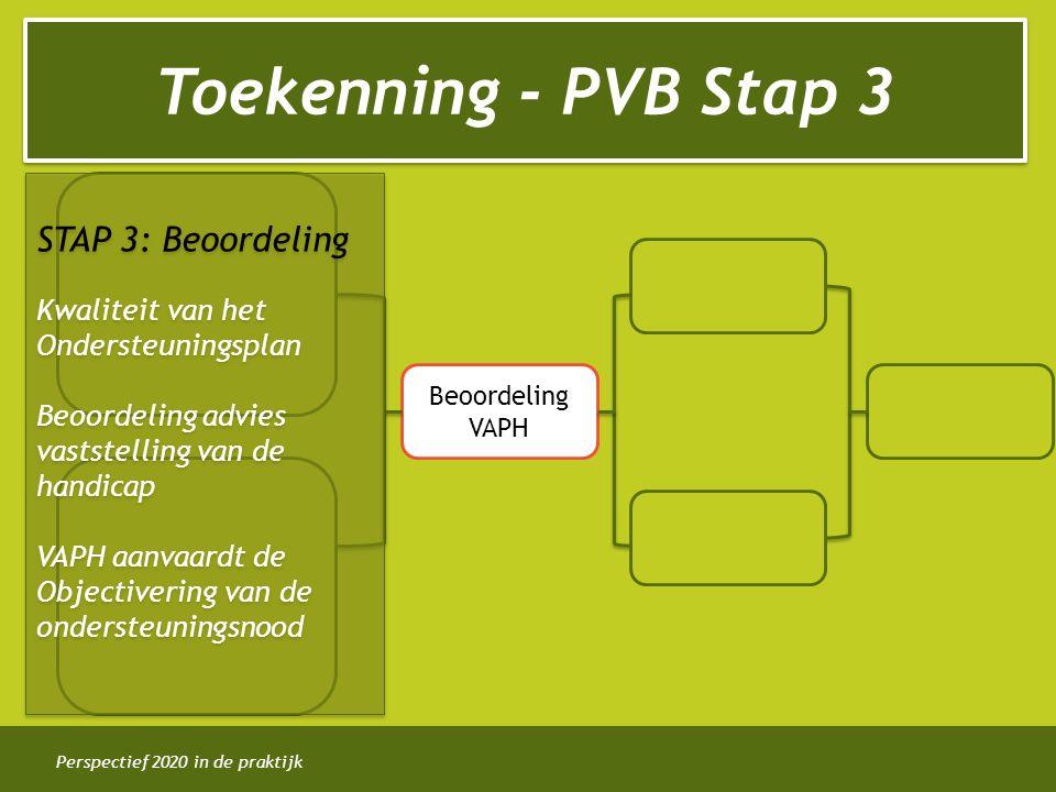 Perspectief 2020 in de praktijk Toekenning - PVB Stap 3 Beoordeling VAPH STAP 3: Beoordeling Kwaliteit van het Ondersteuningsplan Beoordeling advies vaststelling van de handicap VAPH aanvaardt de Objectivering van de ondersteuningsnood STAP 3: Beoordeling Kwaliteit van het Ondersteuningsplan Beoordeling advies vaststelling van de handicap VAPH aanvaardt de Objectivering van de ondersteuningsnood