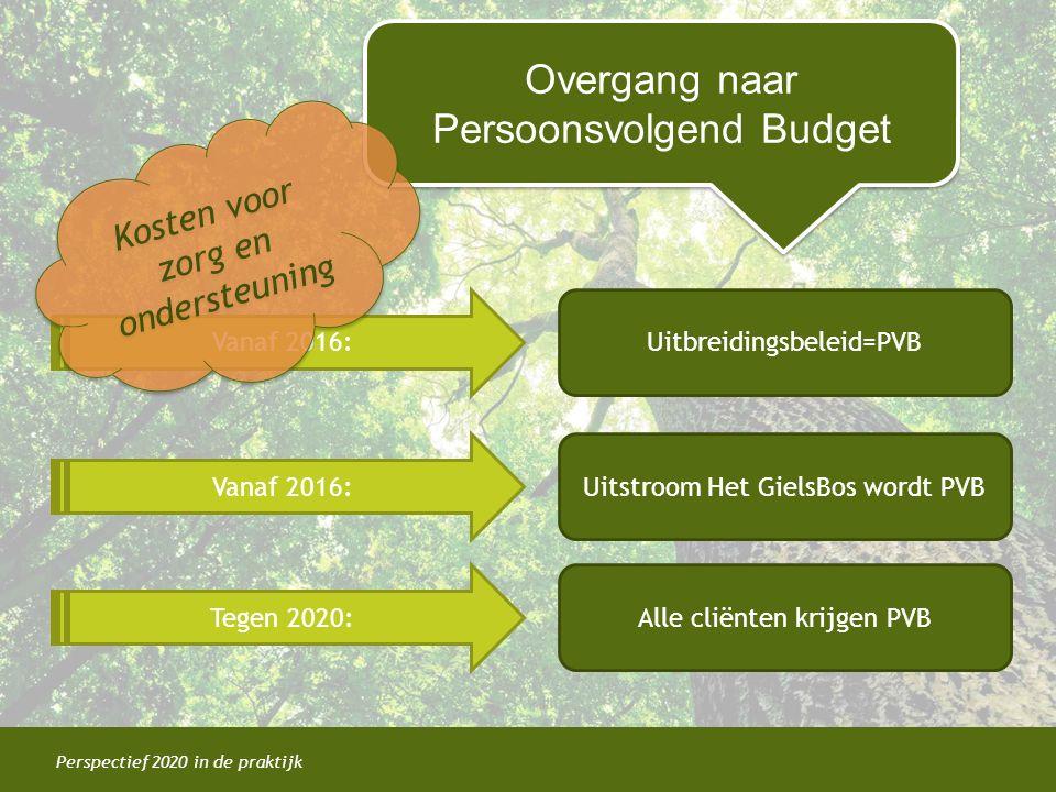 Perspectief 2020 in de praktijk Overgang naar Persoonsvolgend Budget Overgang naar Persoonsvolgend Budget Vanaf 2016: Tegen 2020: Uitbreidingsbeleid=P