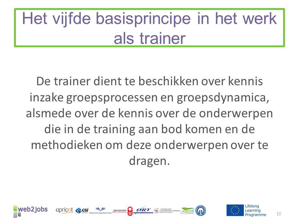 Het vijfde basisprincipe in het werk als trainer De trainer dient te beschikken over kennis inzake groepsprocessen en groepsdynamica, alsmede over de