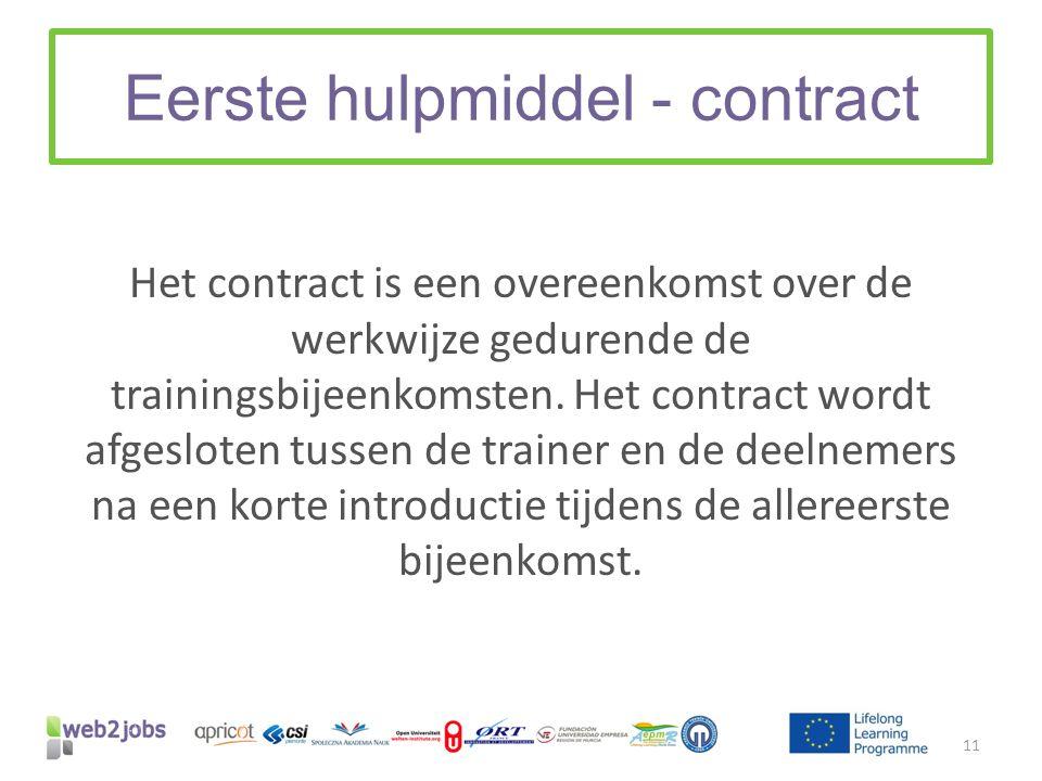 Eerste hulpmiddel - contract Het contract is een overeenkomst over de werkwijze gedurende de trainingsbijeenkomsten. Het contract wordt afgesloten tus