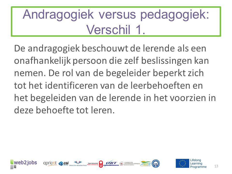 Andragogiek versus pedagogiek: Verschil 1. De andragogiek beschouwt de lerende als een onafhankelijk persoon die zelf beslissingen kan nemen. De rol v