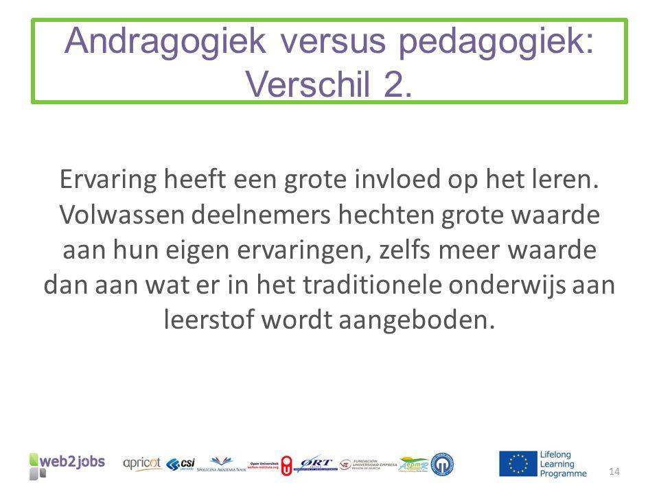 Andragogiek versus pedagogiek: Verschil 2. Ervaring heeft een grote invloed op het leren. Volwassen deelnemers hechten grote waarde aan hun eigen erva
