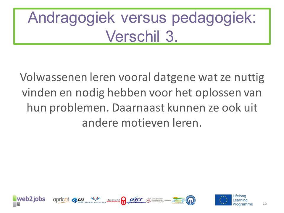 Andragogiek versus pedagogiek: Verschil 3. Volwassenen leren vooral datgene wat ze nuttig vinden en nodig hebben voor het oplossen van hun problemen.