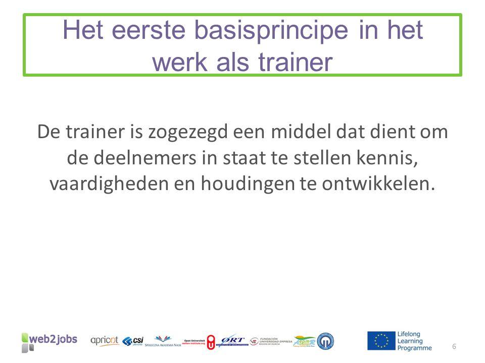 Het eerste basisprincipe in het werk als trainer De trainer is zogezegd een middel dat dient om de deelnemers in staat te stellen kennis, vaardigheden en houdingen te ontwikkelen.